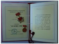 Albania Order of the 40th Anniversary of the Albanian Labor Party with Diploma 1891 and Badge