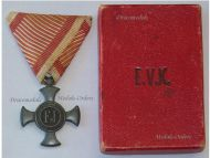Austria Hungary WWI Iron Cross for Merit 1916 Boxed by Gyorffy-Wolf Metallwarenfabriks in Zinc