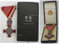 Austria Silver Merit Cross Crown Viribus Unitis 1849 1917 Medal KuK Austro Hungarian Decoration Boxed Rozet & Fischmeister 1916