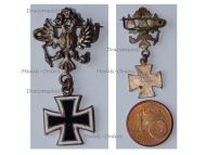 Austria Hungary WWI Cap Badge Austrian Imperial Double Headed Eagle with Iron Cross