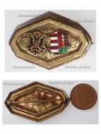 Austria Hungary WWI Austrian Hungarian United Coat Arms KuK Cap Badge