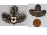 Austria Hungary WW1 Red Cross Patriotic Cap Badge Pine Branches Military Decoration WWI Great War 1914 1918 Austro Hungarian Empire