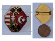 Austria Hungary Germany Ottoman Empire WWI Cap Badge Flags Double Headed Eagle by the Office for War Supplies