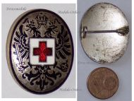 Austria Hungary WWI Red Cross Cap Badge Imperial Double Headed Eagle