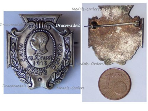 Austria Hungary WWI 85th Birthday Anniversary Kaiser Franz Joseph Cap Badge 18 August 1915 God Help Further