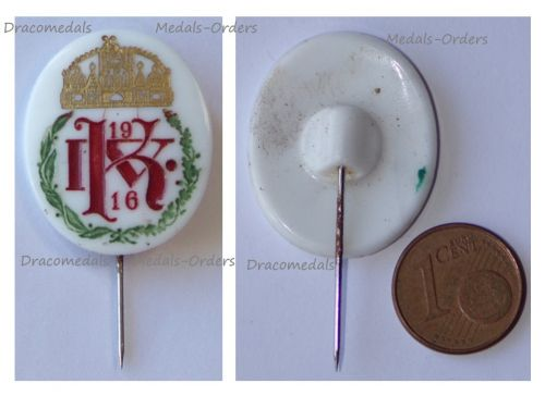 Austria Hungary WWI Kaiser Karl King of Hungary 1916 Cap Badge Stickpin