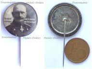 "Austria Hungary Germany WWI General Hartwig von Beseler Patriotic Cap Badge Stickpin ""The Conqueror of Antwerp"""