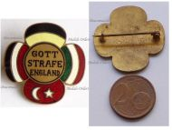 Austria Hungary WWI Cap Badge with the Central Powers Flags Inscribed God Punish England Marked Geset. Geschutzt
