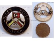 Austria Hungary WWI Cap Badge with the Central Powers Flags Inscribed We Want to and We Will Win