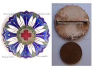 Austria Hungary WWI Red Cross Nurses Cap Badge for Mountain Medical Units with Edelweiss Flower