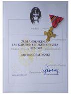 Austria Hungary Kaiserin Zita Memorial Cross 09 May 1989 by Schwertner with Document
