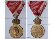 Austria Hungary WWI Signum Laudis Military Merit Medal with Crown Bronze Class Kaiser Franz Joseph 1886 1916