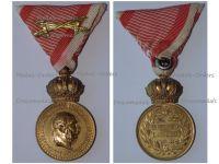 Austria Hungary WWI Signum Laudis Military Merit Medal with Crown & Swords Bronze Class Kaiser Franz Joseph 1886 1916