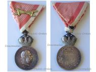 Austria Hungary WWI Signum Laudis Military Merit Medal with Crown & Swords Silver Class Kaiser Franz Joseph 1911 1916 by the Vienna Mint