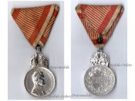 Austria Hungary WW1 Signum Laudis Military Merit Medal with Crown Silver Class Kaiser Karl 1917 1918 Silvered Bronze