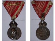 Austria Hungary WWI Signum Laudis Military Merit Medal with Crown & Swords Silver Class Kaiser Karl 1917 1918
