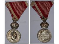 Austria Hungary WWI Signum Laudis Military Merit Medal with Crown Silver Class Kaiser Franz Joseph 1911 1916 in Silvered Zinc
