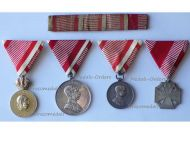 Austria Hungary WWI Signum Laudis Silver Tapferkeit Karl's Cross Troops 1914 1918 Military Medal set Kaiser FJ KuK Austrian Great War