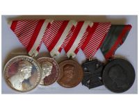 Austria Hungary WWI 5 Medal Set (Silver Large & Small, Bronze Fortitudini Bravery Medals, Laeso Militi Medal for Single Wound by W&A, Karl's Cross of the Troops)