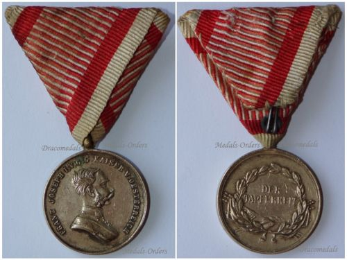 Austria Hungary WWI Small Silver Tapferkeit Bravery Medal 2nd Class Kaiser Franz Jozeph 1914 1916 Unsigned