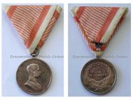 Austria Hungary WWI Silver Fortitudini Medal for Bravery 2nd Class Kaiser Karl 1917 1918 by Kautsch in Silvered Bronze