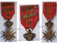 Belgium WWI War Cross with Bronze Lion 2 Palms of King Albert