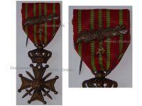 Belgium WWI War Cross with Bronze Lion Palms of King Albert