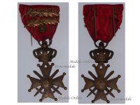 Belgium WW2 War Cross Medal Croix Guerre 1939 1945 bronze Lion 2 Palms Belgian Merit Decoration WWII Leopold III