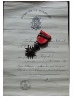 Belgium WWII War Cross with Palms L King Leopold III with Diploma 1938