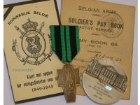Belgium WWII Resistance Medal for the Agents of the Intelligence Service, Operators of Secret Radio Stations, Combatants Card & Silver Senate Medal to a Belgian Senator