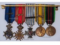 Belgium WW2 Order Leopold II Knight WWII War Cross Palms Armed Resistance Combatants Political Prisoners Posthumous Commemorative Military Medals set Decoration Award 1940 1945 MINI