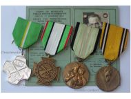 Belgium WWII Clandestine Press Resistance Medal Set with Card (with WWII Unarmed Resistance, WWII Victory Commemorative & ACV Medal)