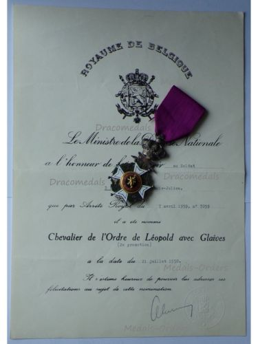 Belgium WWII Order Leopold I Knight's Cross Military Division Bilingual 1952 with Diploma 1959