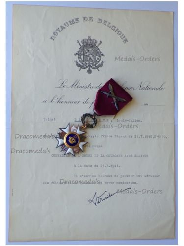 Belgium WWII Order of the Crown Knight's Star with Swords & Diploma