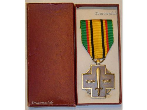Belgium WW2 Combatants Cross Belgian Military Medal Belgian Decoration Award WWII 1940 1945 Boxed