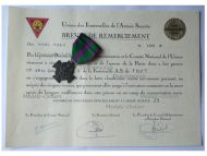 Belgium WWII Recognition Cross of the Fraternal Unions of the Secret Army Bronze Class with Diploma