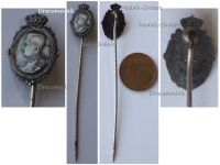 Belgium WWI King Albert Patriotic Stickpin Badge 1914 1915 1916 Silver 950