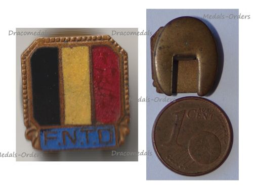 Belgium WWII Lapel Pin National Federation of Deported Workers Badge FNTD