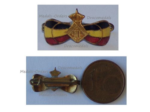 Belgium WWII Belgian Flag Ladies Bow Patriotic Badge with the Royal Cipher of King Leopold III