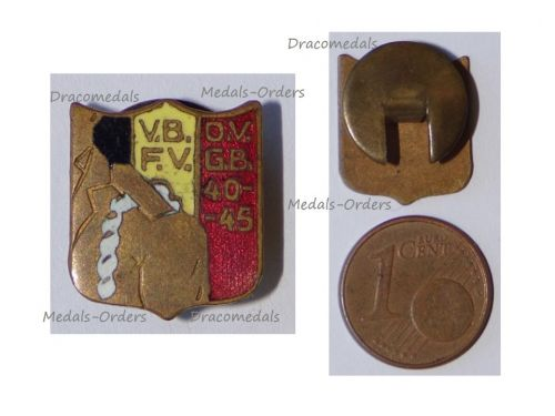Belgium WWII Lapel Pin Armed Forces Volunteers 1940 1945 Badge