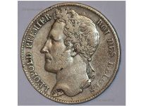 Belgium 5 Francs Coin 1849 silver 900 King Leopold Premier I Belgian Kingdom Circulated