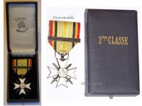Belgium WWI Civic Cross for War Merit 2nd Class with Clasp 1914 1918 Boxed by Fonson