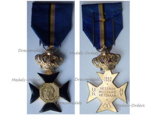 Belgium Military Cross of the Veterans of  King Leopold II 1865 1909 by Dubois