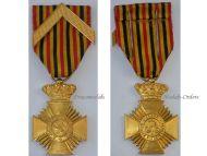 Belgium WW1 Military Decoration Loyal Service I Class Cross Chevron Medal Belgian King Albert WWI 1914 1918
