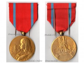 Belgium WW1 National Restoration Commemorative Medal Belgian WWI 1914 1918 Great War Civil Military Decoration Gilt Bilingual by Mauquoy
