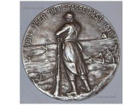 Belgium WWI Yser Battle Silver Commemorative Table Medal 1914 1918 for Card of Fire Recipients