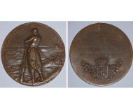 Belgium WWI Yser Battle Bronze Commemorative Table Medal 1914 1918 for Card of Fire Recipients