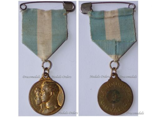 Belgium WWI King Albert Queen Elisabeth Royal Medal for the Day of the War Invalids