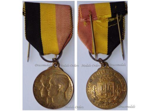 Belgium WWI Liege Battle Patriotic Medal of King Albert & Queen Elisabeth by Desmeth