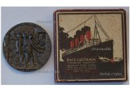 Britain WWI RMS Lusitania Sinking Propaganda Medal Boxed